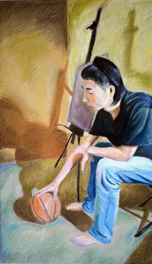 Renjie Zhou portrait with basketball