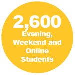 2,600 Evening, Weekend and Online Students