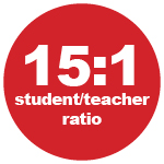 15:1 student/teacher ratio