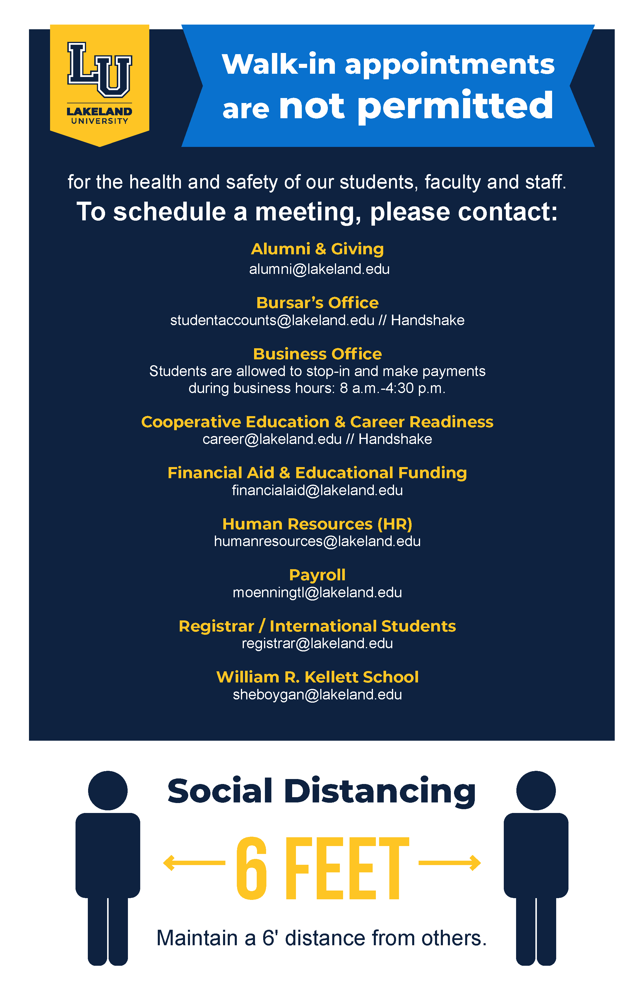 2020 covid19 sign schedule appointment WAK social distance 11x17